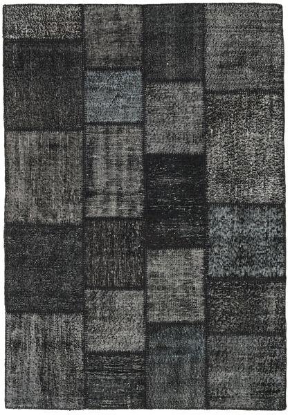 Patchwork Matto 138X200 Moderni Käsinsolmittu Musta/Tummanharmaa (Villa, Turkki)