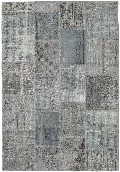 Patchwork Rug 139X201 Authentic  Modern Handknotted Dark Grey/Light Grey (Wool, Turkey)