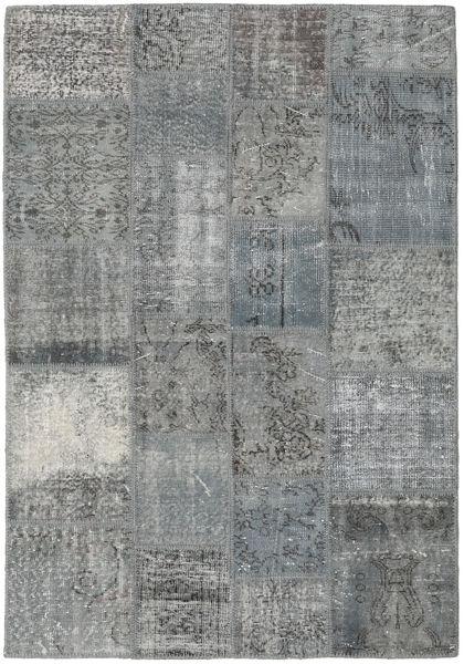 Patchwork Rug 140X203 Authentic  Modern Handknotted Light Grey/Blue (Wool, Turkey)