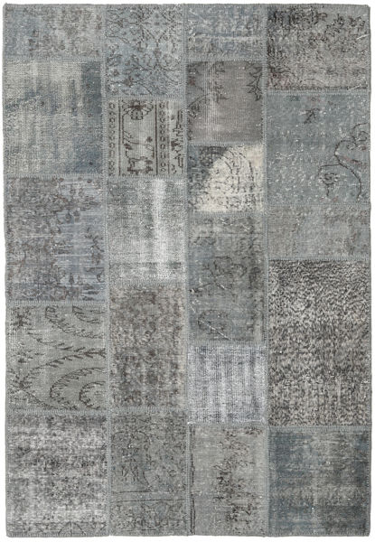 Patchwork Teppe 138X200 Ekte Moderne Håndknyttet Mørk Grå/Lys Grå (Ull, Tyrkia)