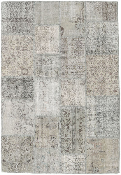 Patchwork Rug 138X201 Authentic  Modern Handknotted Light Grey (Wool, Turkey)