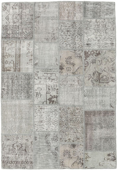 Patchwork Rug 139X200 Authentic  Modern Handknotted Light Grey (Wool, Turkey)