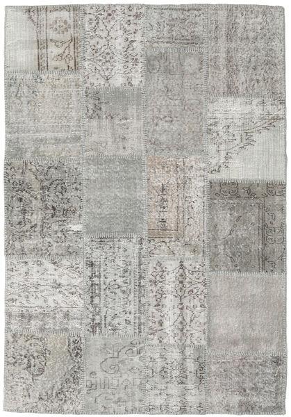 Patchwork Matto 137X200 Moderni Käsinsolmittu Vaaleanharmaa/Beige (Villa, Turkki)
