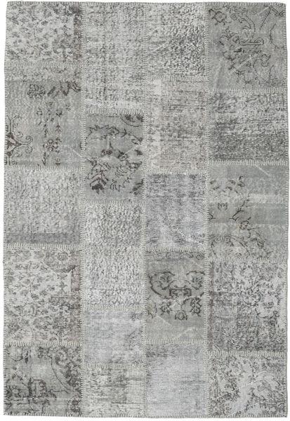 Patchwork Matto 137X203 Moderni Käsinsolmittu Vaaleanharmaa/Tummanharmaa (Villa, Turkki)
