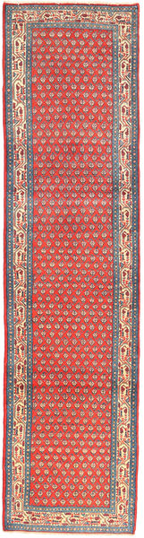 Sarouk Mir Rug 78X322 Authentic  Oriental Handknotted Hallway Runner  Light Grey/Rust Red (Wool, Persia/Iran)