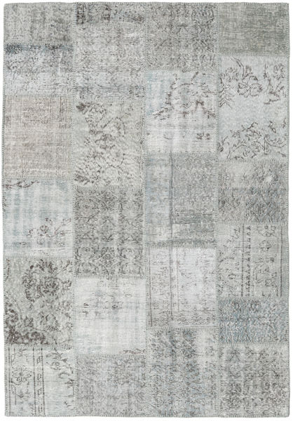 Patchwork Matto 158X231 Moderni Käsinsolmittu Vaaleanharmaa/Siniturkoosi (Villa, Turkki)