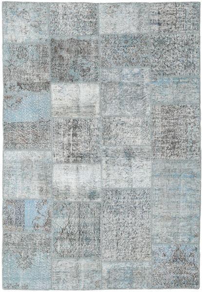 Patchwork Matto 156X231 Moderni Käsinsolmittu Vaaleanharmaa (Villa, Turkki)