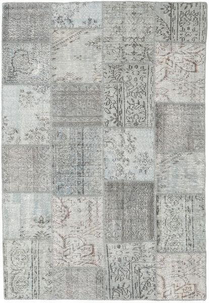 Patchwork Matto 155X231 Moderni Käsinsolmittu Vaaleanharmaa/Siniturkoosi (Villa, Turkki)