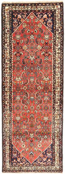Hamadan Rug 110X298 Authentic  Oriental Handknotted Hallway Runner  Dark Red/Brown (Wool, Persia/Iran)