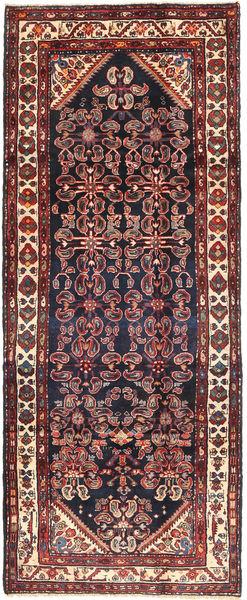 Hamadan Matto 112X290 Itämainen Käsinsolmittu Käytävämatto Musta/Tummanpunainen (Villa, Persia/Iran)