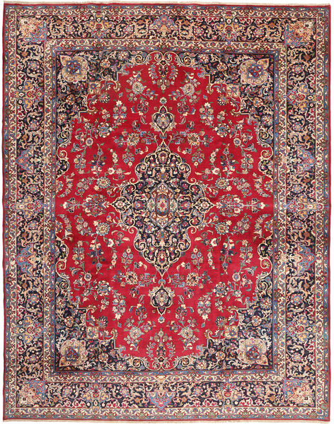 Mashad Rug 293X380 Authentic  Oriental Handknotted Crimson Red/Dark Purple Large (Wool, Persia/Iran)
