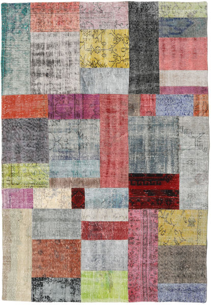 Patchwork Rug 159X230 Authentic  Modern Handknotted Light Grey/Purple (Wool, Turkey)