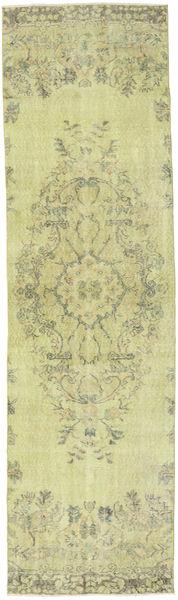 Colored Vintage Matto 81X290 Moderni Käsinsolmittu Käytävämatto Vaaleanvihreä/Tummanbeige (Villa, Turkki)