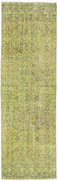 Colored Vintage Rug 82X256 Authentic  Modern Handknotted Hallway Runner  Light Green/Olive Green (Wool, Turkey)