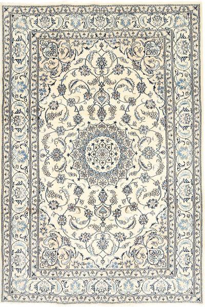 Nain Teppe 198X293 Ekte Orientalsk Håndknyttet Beige/Lys Grå/Mørk Grå (Ull/Silke, Persia/Iran)