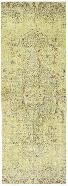 Colored Vintage Rug 89X249 Authentic  Modern Handknotted Hallway Runner  Light Green/Yellow (Wool, Turkey)