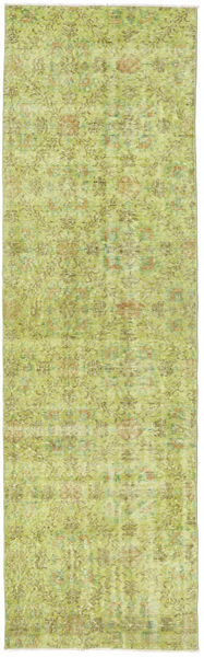Colored Vintage Rug 81X270 Authentic  Modern Handknotted Hallway Runner  Light Green/Olive Green (Wool, Turkey)