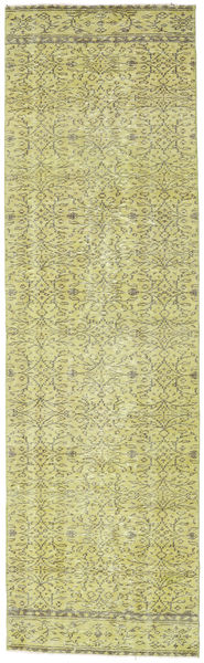 Colored Vintage Rug 83X280 Authentic  Modern Handknotted Hallway Runner  Light Green/Yellow (Wool, Turkey)