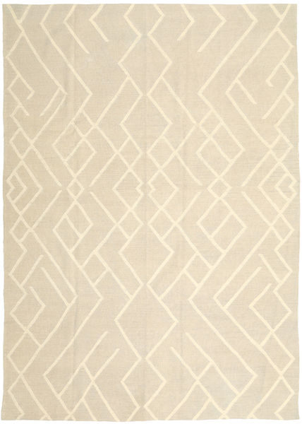 Kilim Modern Rug 205X284 Authentic  Modern Handwoven Beige (Wool, India)