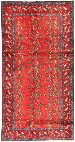 Hamadan Matta 132X257 Äkta Orientalisk Handknuten Roströd/Orange (Ull, Persien/Iran)