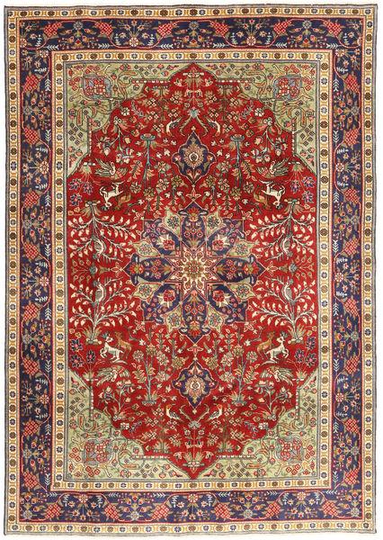 Tabriz Patina Tæppe 193X277 Ægte Orientalsk Håndknyttet Mørkerød/Mørkelilla (Uld, Persien/Iran)