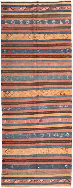 Kilim Rug 153X410 Authentic  Oriental Handwoven Hallway Runner  Light Brown/Dark Grey (Wool, Persia/Iran)