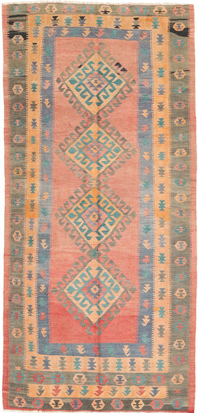 Kilim Fars Alfombra 142X302 Oriental Tejida A Mano Marrón Claro/Rosa Claro (Lana, Persia/Irán)