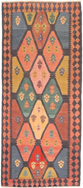 Kilim Fars Rug 137X310 Authentic  Oriental Handwoven Hallway Runner  Dark Grey/Light Brown (Wool, Persia/Iran)