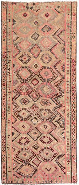 Kilim Fars Rug 146X338 Authentic  Oriental Handwoven Hallway Runner  Light Brown/Dark Beige (Wool, Persia/Iran)