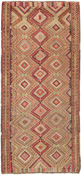 Kilim Rug 170X380 Authentic  Oriental Handwoven Hallway Runner  Light Brown/Brown (Wool, Persia/Iran)
