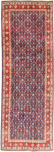 Hamadan Rug 112X322 Authentic  Oriental Handknotted Hallway Runner  Dark Purple/Purple (Wool, Persia/Iran)
