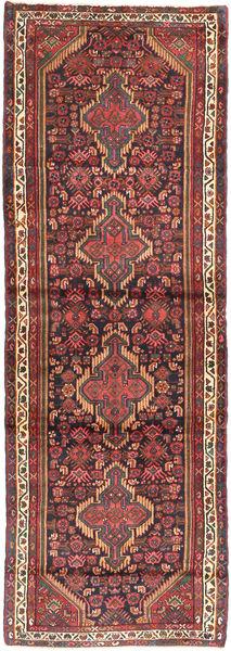 Hamadan Rug 107X320 Authentic  Oriental Handknotted Hallway Runner  Brown/Dark Blue (Wool, Persia/Iran)