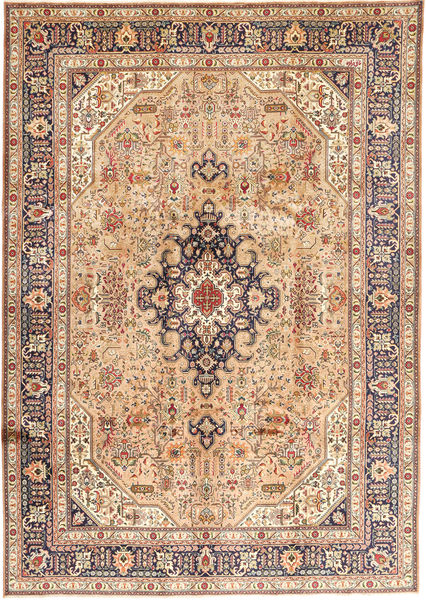 Tabriz Signed: Ghanizadeh Rug 247X343 Authentic  Oriental Handknotted Light Brown/Light Pink (Wool, Persia/Iran)