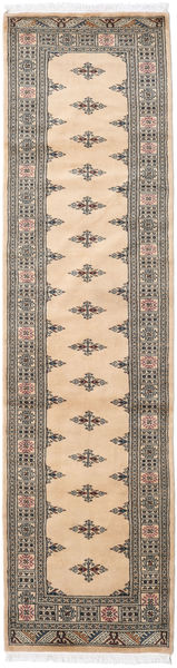 Pakistan Bokhara 3Ply Rug 82X313 Authentic  Oriental Handknotted Hallway Runner  Light Brown/Dark Beige (Wool, Pakistan)