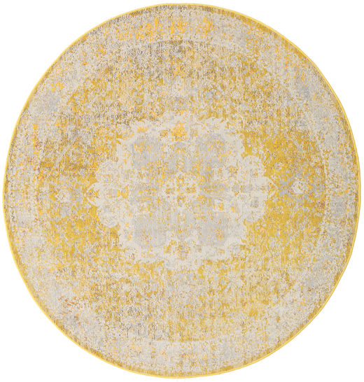Nadia - Yellow Rug Ø 200 Modern Round Light Brown/Yellow/Dark Beige ( Turkey)