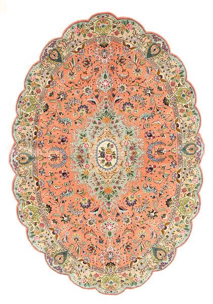 Tabriz Tapis 140X203 D'orient Fait Main Rose Clair/Marron Clair (Laine/Soie, Perse/Iran)