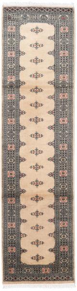 Pakistan Bokhara 2Ply Matta 79X307 Äkta Orientalisk Handknuten Hallmatta Beige/Ljusgrå/Mörkgrå (Ull, Pakistan)