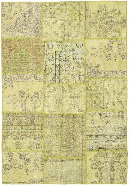 Patchwork Matto 158X232 Moderni Käsinsolmittu Keltainen/Vaaleanvihreä (Villa, Turkki)
