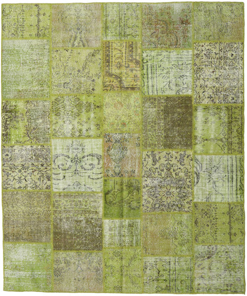 Patchwork Rug 251X301 Authentic  Modern Handknotted Light Green/Olive Green Large (Wool, Turkey)