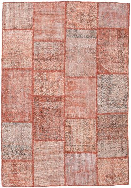 Patchwork Matto 160X230 Moderni Käsinsolmittu Vaaleanpunainen/Ruskea (Villa, Turkki)