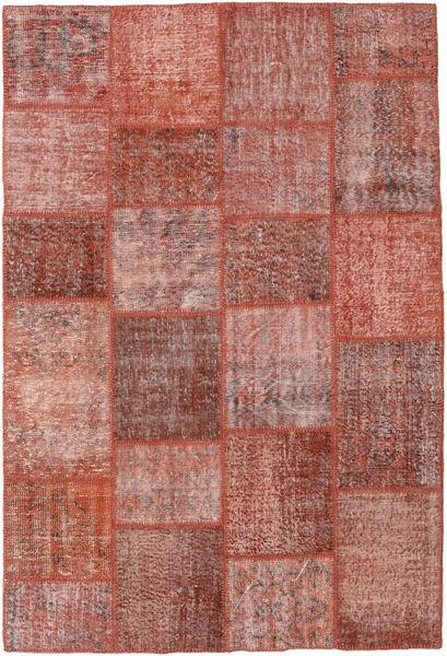 Patchwork Matto 157X233 Moderni Käsinsolmittu Ruskea/Vaaleanpunainen (Villa, Turkki)