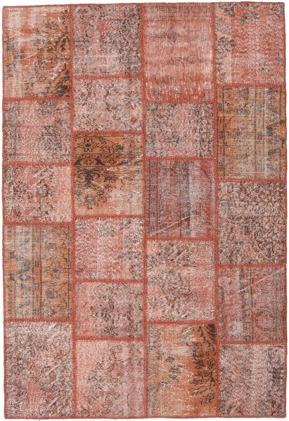 Patchwork Matto 159X234 Moderni Käsinsolmittu Vaaleanpunainen/Ruskea/Vaaleanruskea (Villa, Turkki)