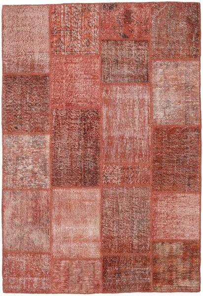 Patchwork Matto 158X232 Moderni Käsinsolmittu Ruskea/Vaaleanpunainen (Villa, Turkki)