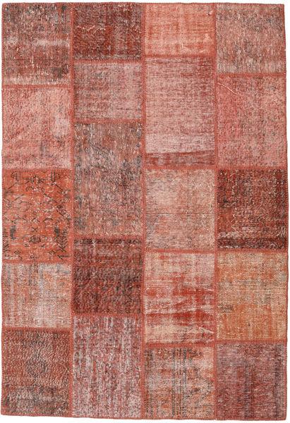 Patchwork Matto 159X232 Moderni Käsinsolmittu Ruskea/Vaaleanpunainen (Villa, Turkki)