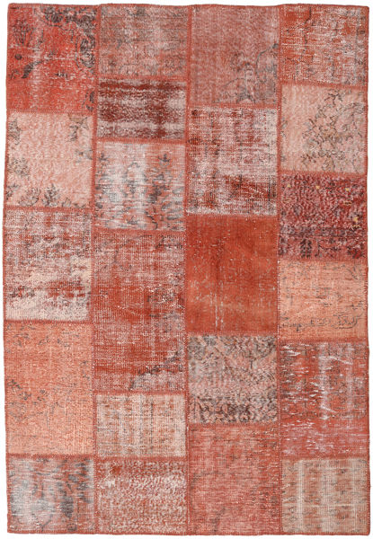 Patchwork Matto 158X231 Moderni Käsinsolmittu Vaaleanruskea/Vaaleanpunainen/Ruskea (Villa, Turkki)