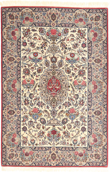 Ispahan Chaîne De Soie Tapis 113X169 D'orient Fait Main Marron Clair/Beige (Laine/Soie, Perse/Iran)