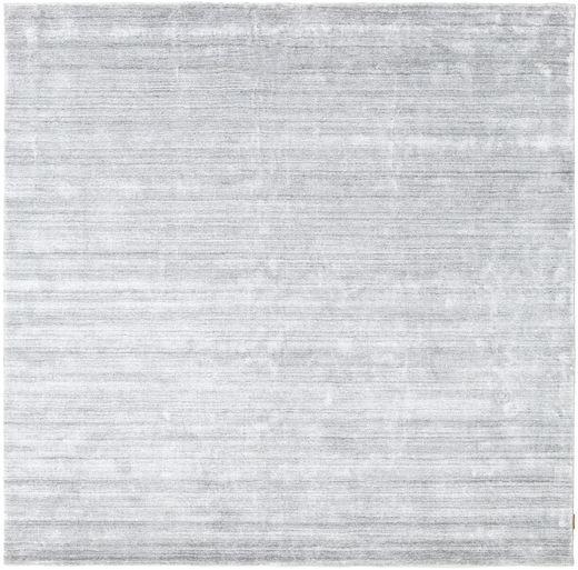 Bamboe Zijde Loom - Grijs Vloerkleed 250X250 Modern Vierkant Wit/Creme/Lichtblauw Groot ( India)