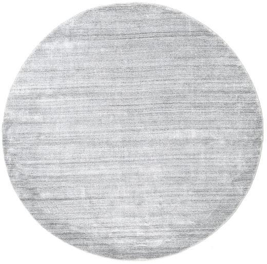 Bamboo Silke Loom - Grå Teppe Ø 200 Moderne Rundt Lys Grå/Hvit/Creme ( India)