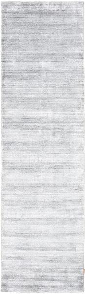 Bambou Soie Loom - Gris Tapis 80X300 Moderne Tapis Couloir Blanc/Crème/Beige/Gris Clair ( Inde)