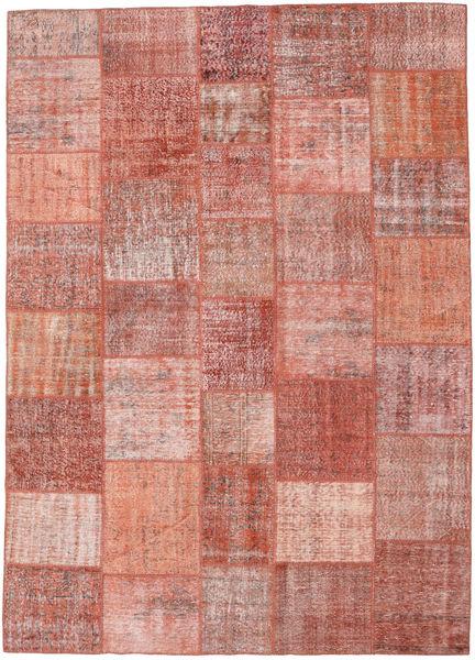 Patchwork Matto 250X352 Moderni Käsinsolmittu Vaaleanpunainen/Ruskea Isot (Villa, Turkki)